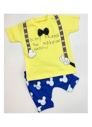 By Bebek Odam Papyonlu Şortlu Bebek Takımı Sarı